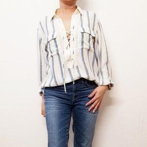 Equipment Femme Striped Silk Long Sleeve Blouse